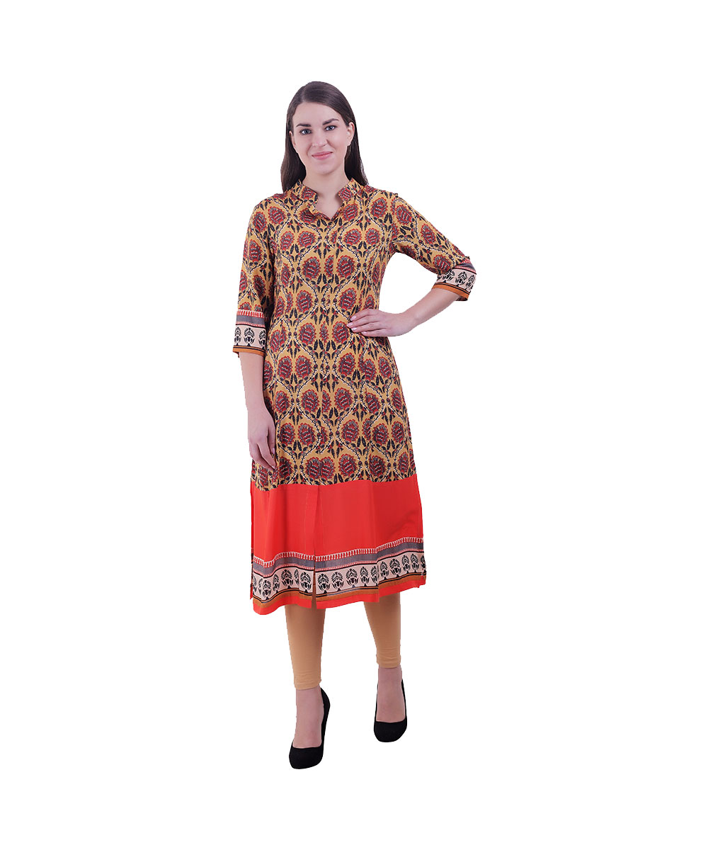 Orange and Yellow Kurti For Women (Rose)
