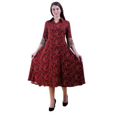 Women Red & Black Anarkali Kurti (Rajni)