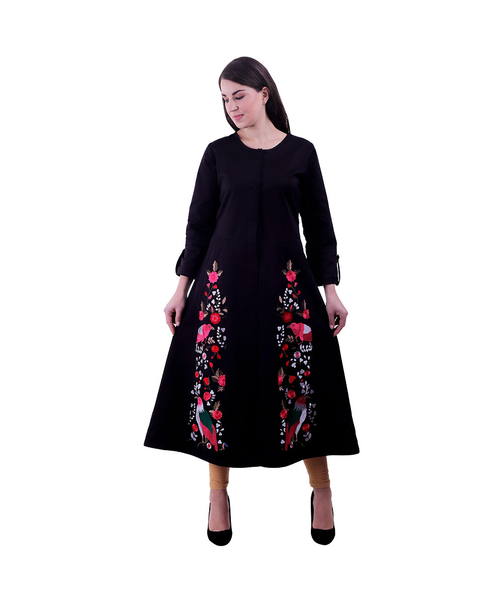Women Black Color Kurta (Birdie)