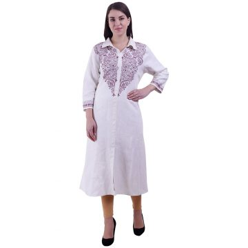 White Kurta For Women (Mazenta)