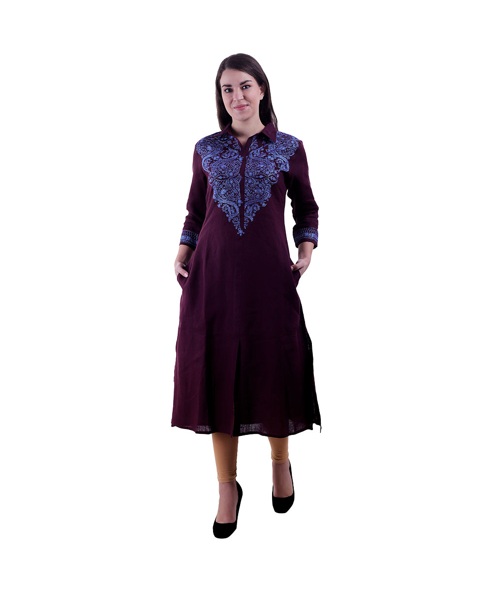 Wine Kurta For Women (Grapes)