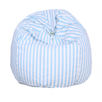 White and Light Blue Striped Organic Cotton Bean Bag Cover