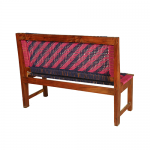 Pink and Blue Handmade Wooden Bench Knitted with Cotton Dori