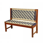 White and Blue Handmade Wooden Bench Knitted with Cotton Dori