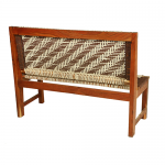 White and Brown Handmade Wooden Bench Knitted with Cotton Dori