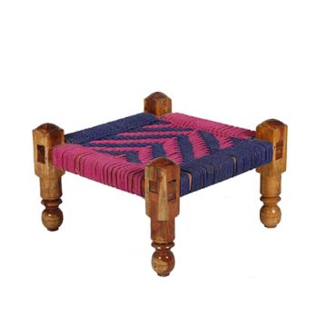 Pink and Blue Cotton Dori Knitted Chowki