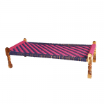Pink and Blue Jute Knitted Cot
