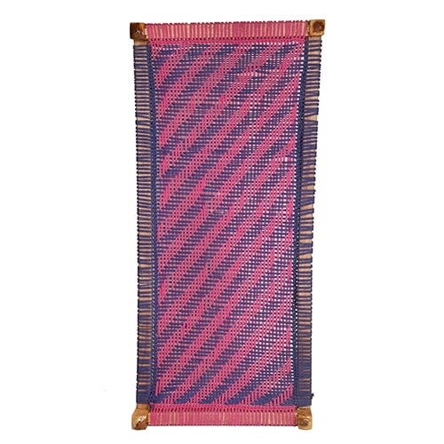 Pink and Blue Cotton Dori Knitted Charpai