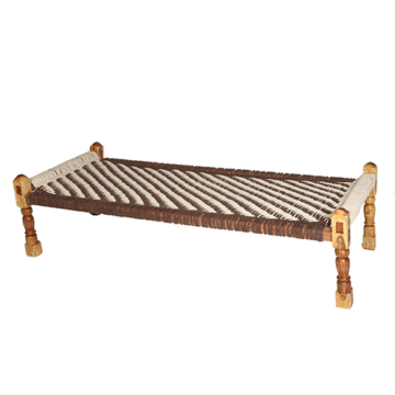 Brown and White Jute Knitted Cot