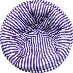 White and Purple Striped Organic Cotton Lap Pouf