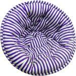White and Blue Striped Printed Organic Cotton Lap Pouf