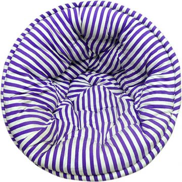 White and Purple Striped Organic Cotton Lap Pouf