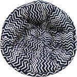 Black and White Striped Organic Cotton Lap Pouf