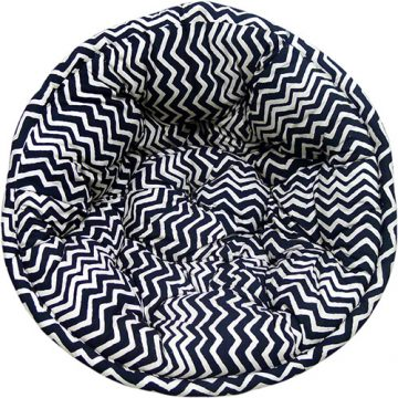 Black and White Striped Organic Cotton Lap Pouf