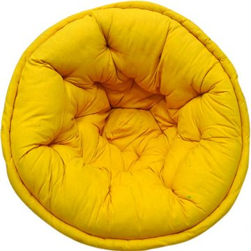 Yellow Solid Organic Cotton Lap Pouf