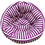Purple and White Striped Organic Cotton Lap Pouf