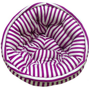 Pink and White Striped Organic Cotton Lap Pouf