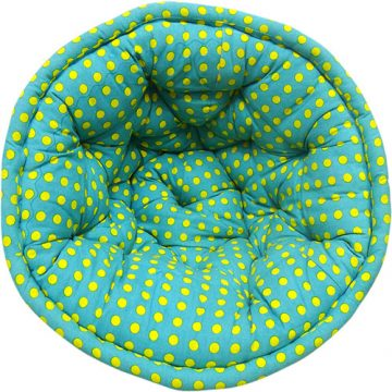 Yellow Dotted Digital Abstract Print Organic Cotton Lap Pouf