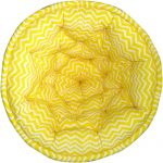 White and Yellow Organic Cotton Striped Lap Pouf