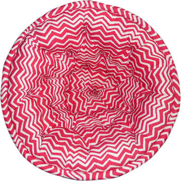 White and Red Striped Organic Cotton Lap Pouf
