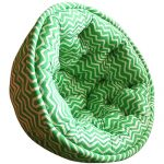 White and Green Striped Organic Cotton Lap Pouf