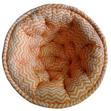 Orange and White Striped Organic Cotton Lap Pouf