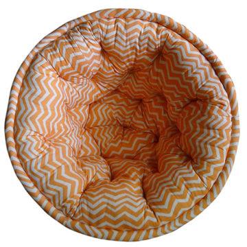 Orange and White Striped Organic Cotton Lap Pouf