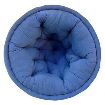 Solid Light Blue Organic Cotton Lap Pouf