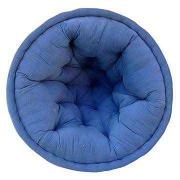 Solid Light Blue Organic Cotton Lap Pouf
