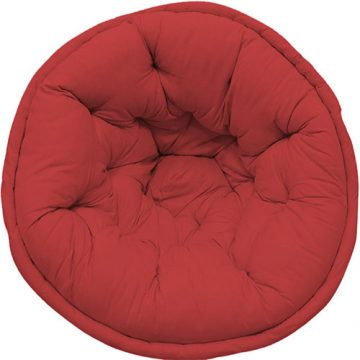 Solid Red Organic Cotton Lap Pouf