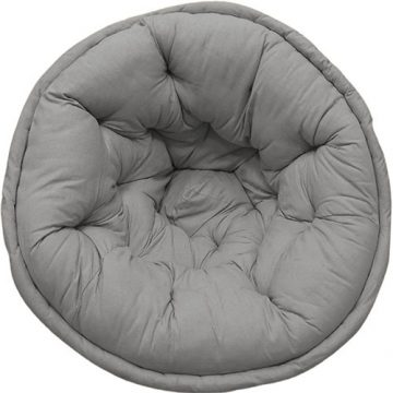 Solid Grey Organic cotton Lap Pouf