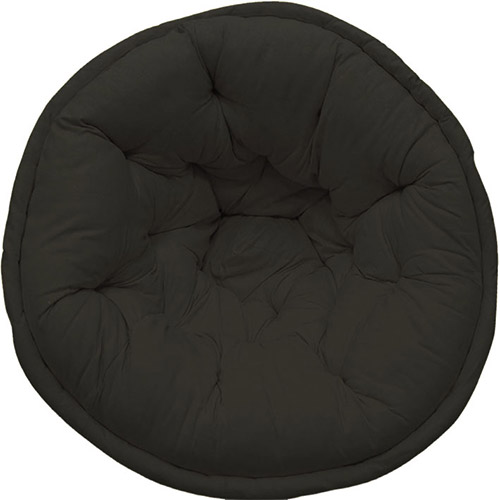 Solid Black Organic Cotton Lap Pouf