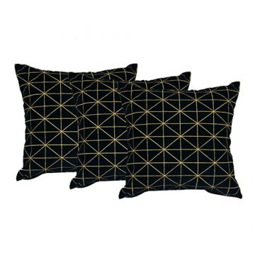 Set of 3 Black Velvet Cushion Cover