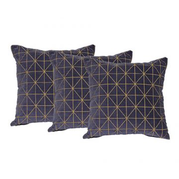 Set of 3 Blue  organic cotton Velvet Cushion Covers