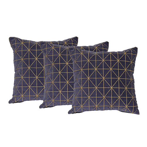 Set of 3 Blue Velvet Cushion Covers
