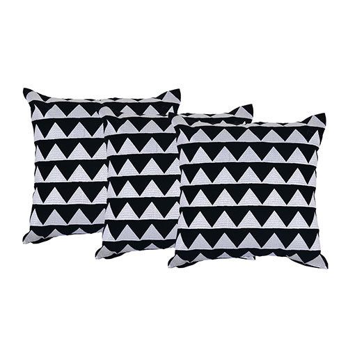 Set of 3 Black and White Organic Cotton Cushion Cover