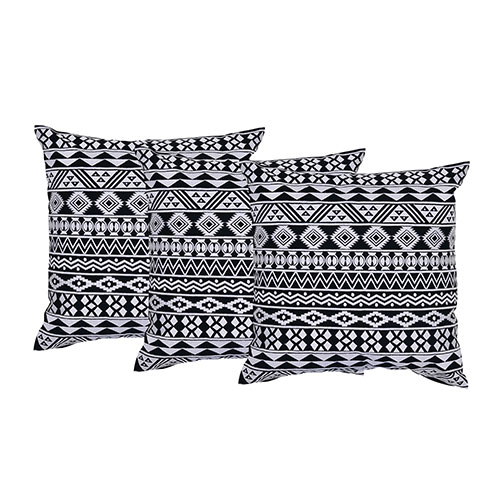 White and Black Set of 3 Cotton Cushion Covers