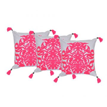 Pink and White Set of 3 Organic Cotton Cushion Cover