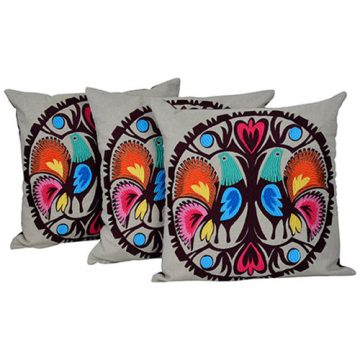 Multicolor Set of 3 Cotton Embroidery Chambray Cushion Cover