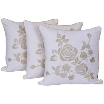 White and Beige Set of 3 Velvet Cushion Cover