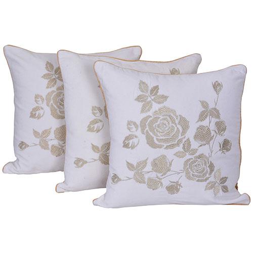 White and Beige Set of 3 Velvet Cushion Covers