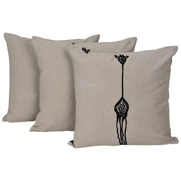 Set of 3 Beige & Black Aari Embroidered Cushion Cover