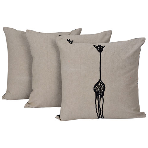 Set of 3 Grey and Black Chambray Cotton Embroidered Cushion Cover