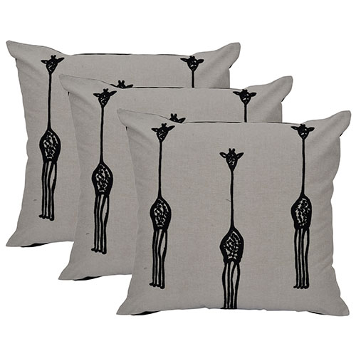 Grey and Black Set of 3 Chambray Cotton Cushion Cover