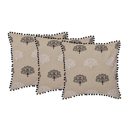 Set of 3 Black & Beige Chambray Cotton Cushion Cover