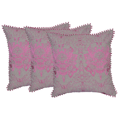 Set of 3 Pink and Beige Cotton Velvet Cushion Cover