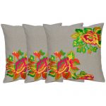 Set of 3 Chambray Rose Embroidered Cotton Cushion Cover