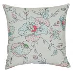 Set of 3 Coral Embroidered Cotton Cushion Cover