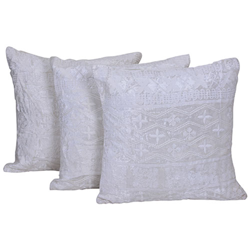 Set of 3 White Velvet Cushion Cover