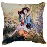 Set of 3 Multi Color Cute Girls Printed Cotton Cushion Cover
